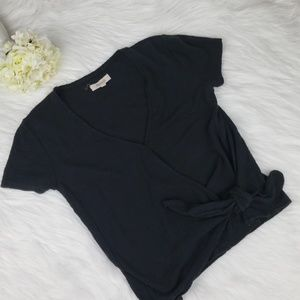 Madewell Black Front Knot Top Blouse